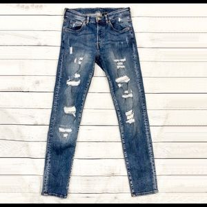 & DENIM MEN'S TRASHED SKINNY JEANS - SZ 32